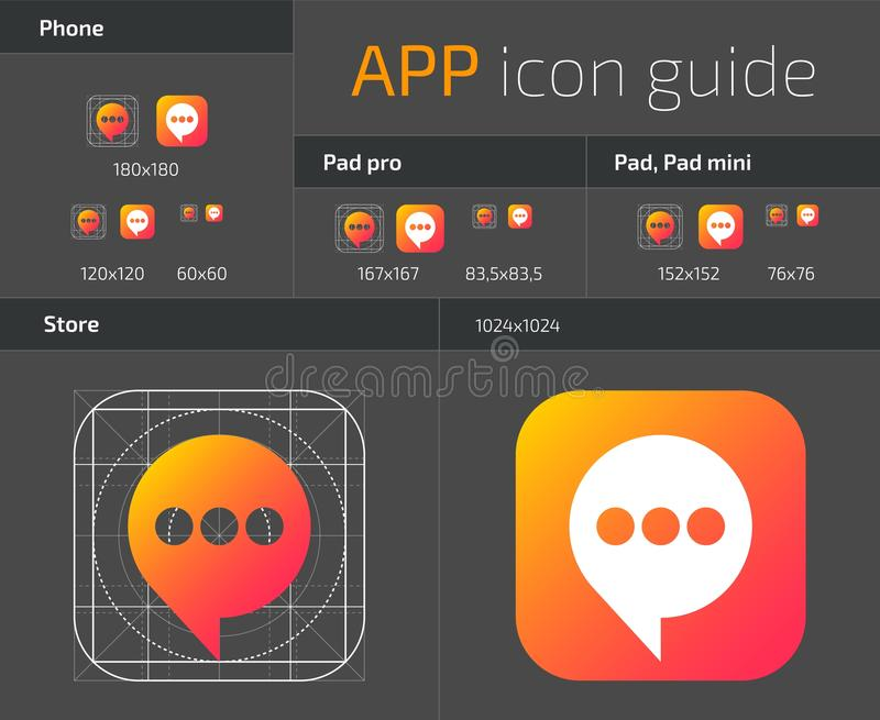 UI IOS button icons design guidelines for web and mobile app vector template. Illustration of application web button ui, ios icon stock illustration