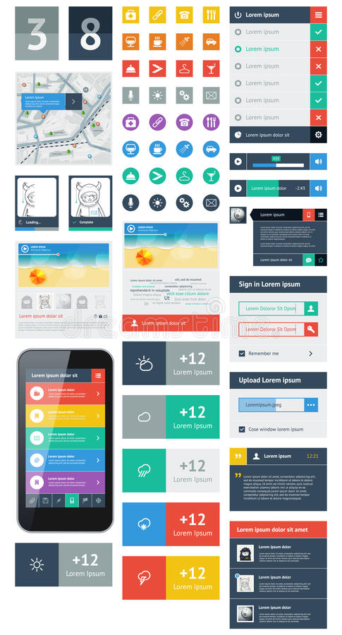 Free UI Is A Set Components Featuring The Flat Design Stock Photo - 30080560