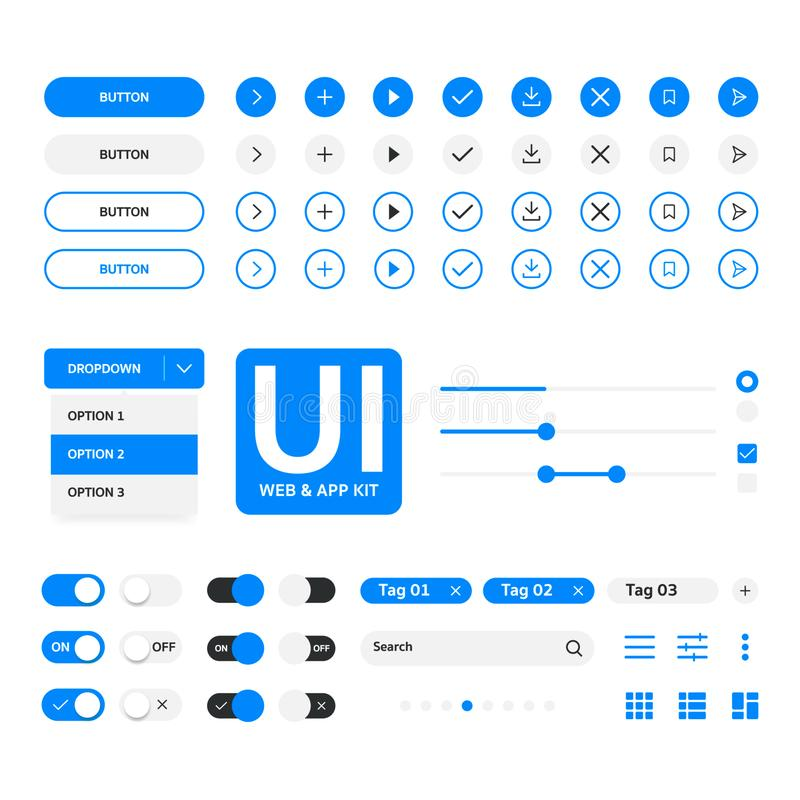 UI kit web & application blue elementals template, flat design royalty free stock images