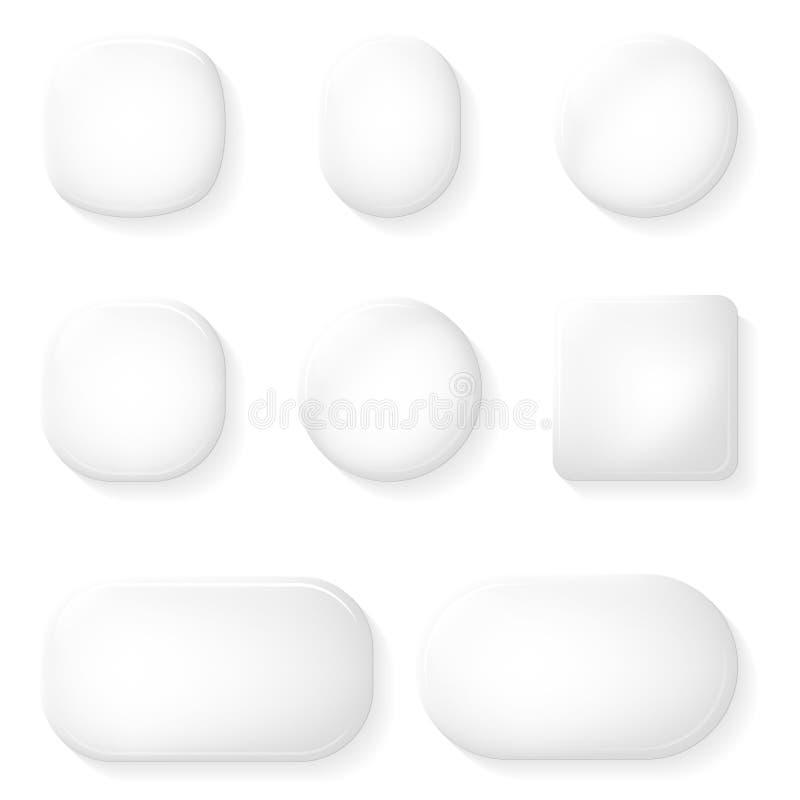 UI knäppas illustrationen för vektorn för beståndsdelar för designen för Glass App-symboler den genomskinliga vektor illustrationer