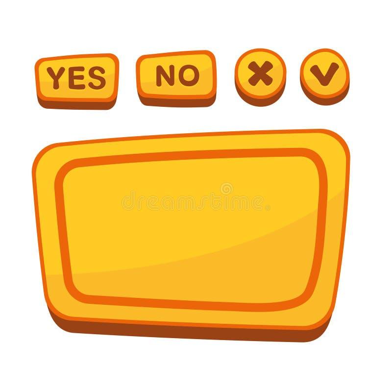 UI-knappuppsättning för överenskommelsepanel i tecknad film vektor illustrationer