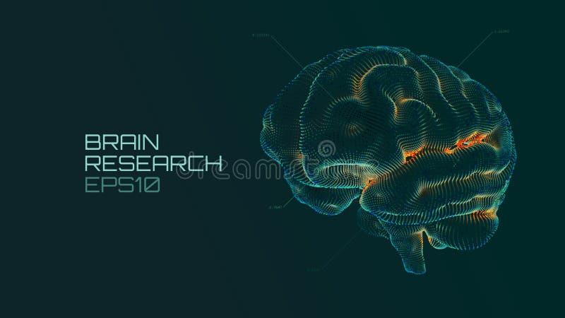 Ui médical futuriste de recherches de cerveau QI examinant, technologie virtuelle de la science d'émulation d'intelligence artifi illustration libre de droits