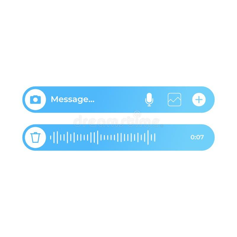 Ui moderno del mensaje del texto y de la voz stock de ilustración