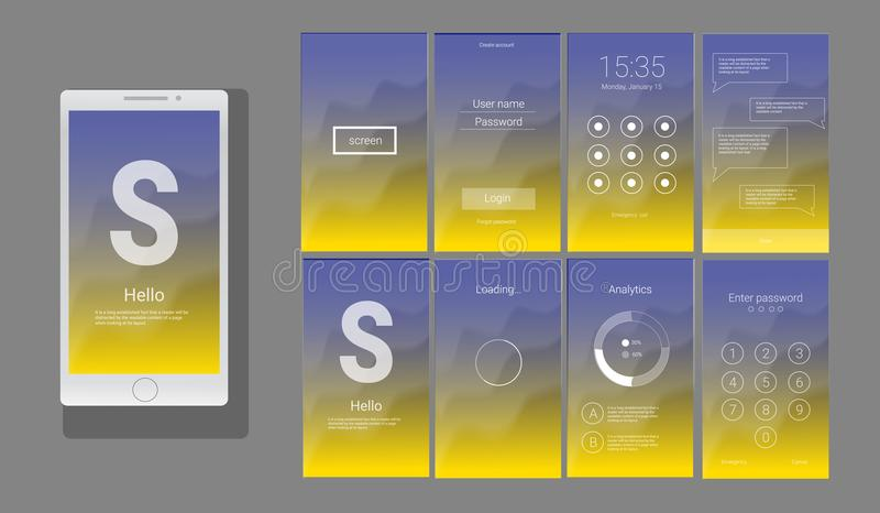 UI moderno, diseño del vector de la pantalla del GUI ilustración del vector