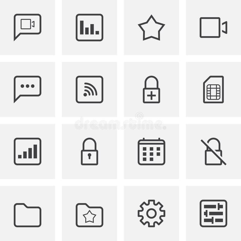 UI och UX, universell linje symbolsuppsättning royaltyfri illustrationer