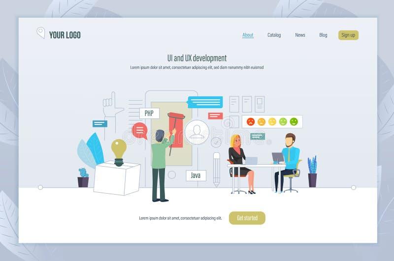 UI- och UX utveckling Manöverenhetsutveckling för mobila skrivbords- applikationer royaltyfri illustrationer