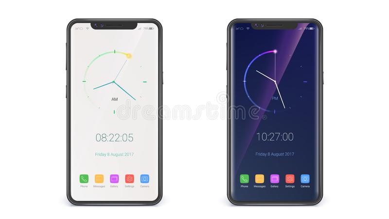 UI ontwerp van pagina met klok Het scherm van moderne horloges Concept touch screensmartphone op witte achtergrond wordt geïsolee vector illustratie