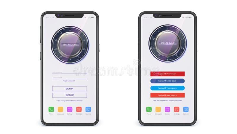 UI projekt, rejestracja i wchodzić do stronę Ekran nowożytni apps z dostępem przez hasła, bezpieczny kędziorek Pojęcie dotyk obraz royalty free