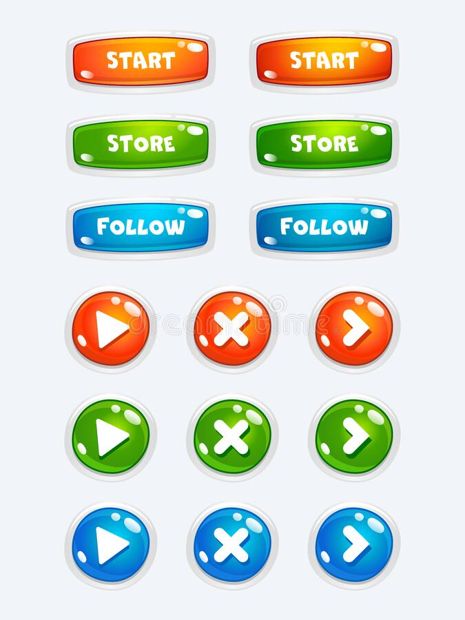 UI set of game navigation. Buttons in a cute candy style. Arrows, close, hamburger menu, return signs. Simple vector design royalty free illustration