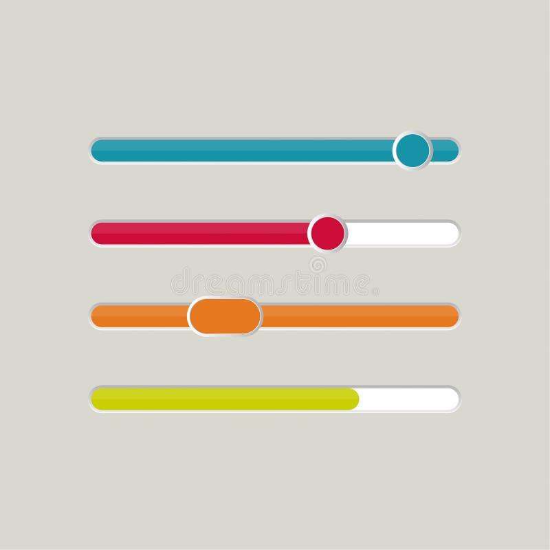UI sliders set. Vector stock illustration