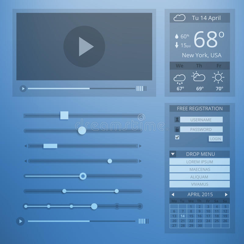 UI transparantie vlak ontwerp van Webelementen royalty-vrije illustratie