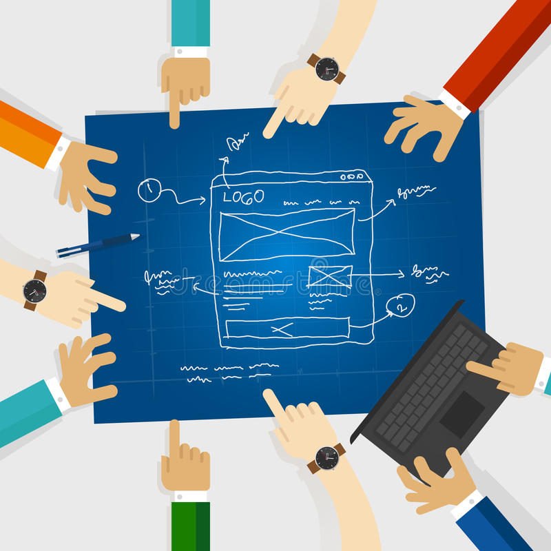UI or user interface and UX or user experience design team work on wireframe website in blue print. Vector vector illustration