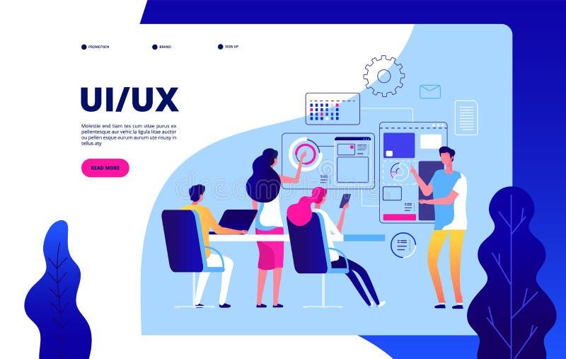 Ui ux着陆页 最佳的用户经验自动化数字ui ux测试的传染媒介现代概念 皇族释放例证