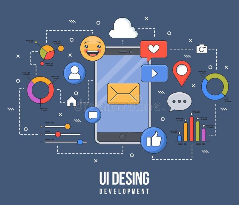 ui-ux设计的,网络设计,流动apps发展平的例证 现代平的五颜六色的线设计观念 向量例证
