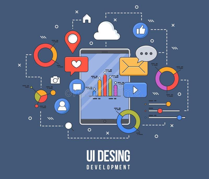 ui-ux设计的,网络设计,流动apps发展平的例证 现代平的五颜六色的线设计观念 皇族释放例证