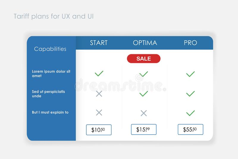 Design tariff banner ui ux and price for web interface. Commercial illustration stock illustration