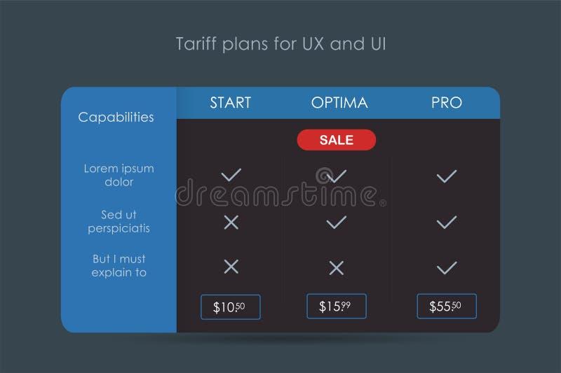Business price tariff, vector illustration banner design. Web ux ui vector illustration