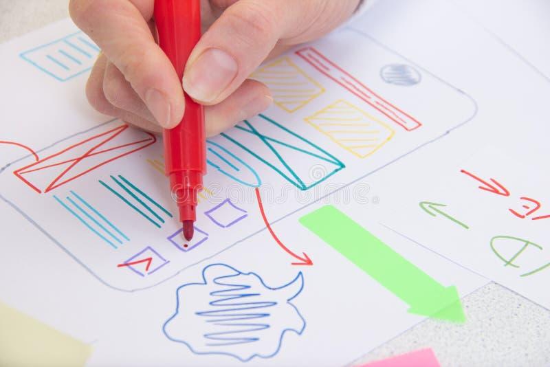 Ui Ux app. Planning design stock photos