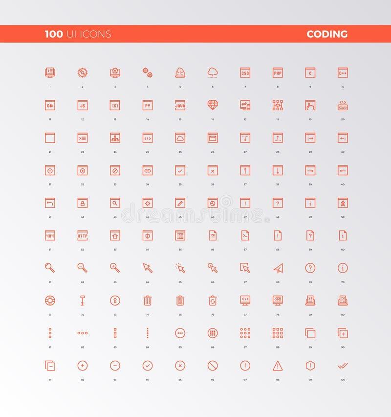 UI UX Code Production Icons royalty free illustration