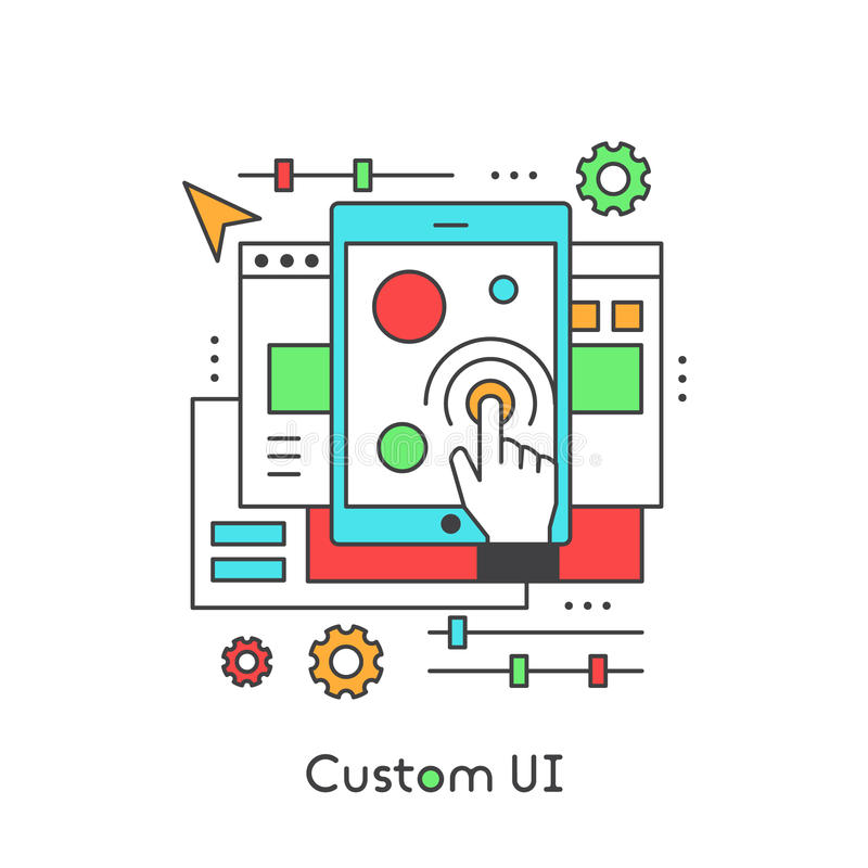 UI UX Custom Design Developing User Experience. User Interface Settings, Modern Vector Icon Style Illustration stock illustration