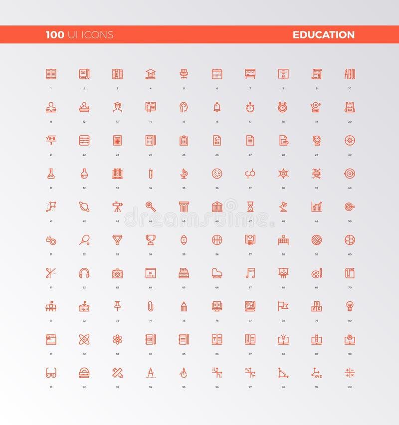 UI UX-de Pictogrammen van Onderwijsactiva stock illustratie
