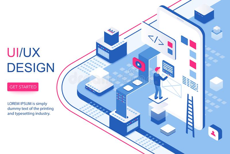 UI UX design infographic concept. Mobile app software and visual content 3d isometric landing website page template vector illustration