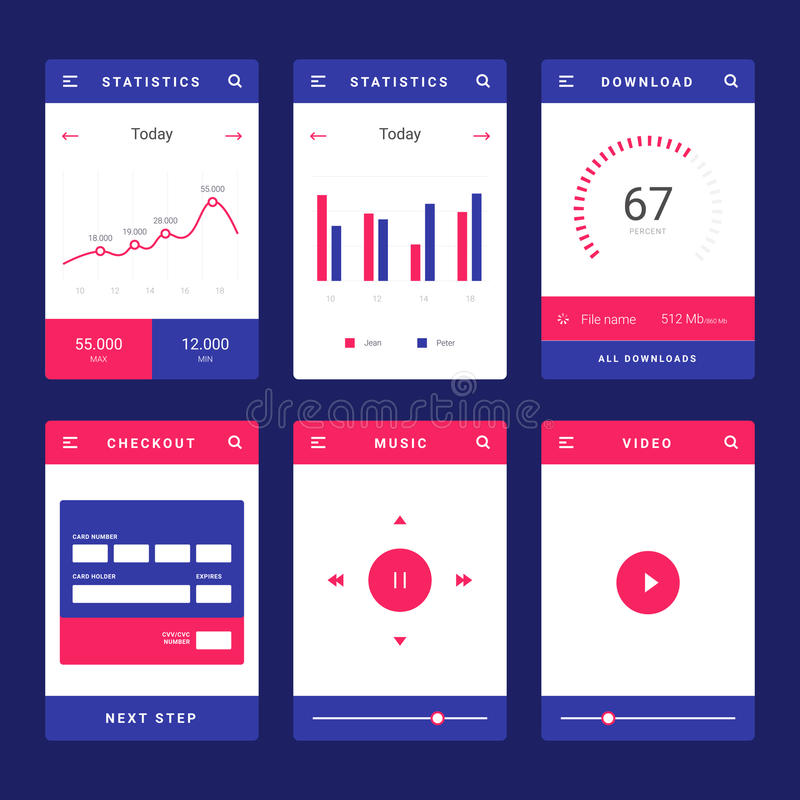 banking dashboard templates - ui ux and gui template layout for mobile apps stock