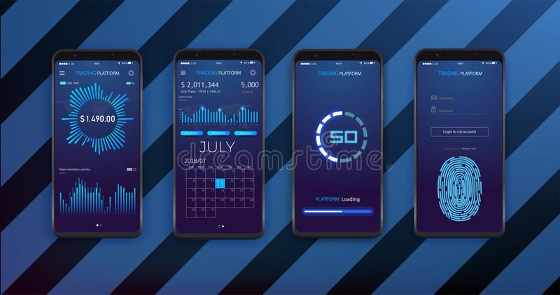 UI, UX and GUI template layout for Mobile Apps. Statistic dashboard. Smartphone screen with stock market stock illustration