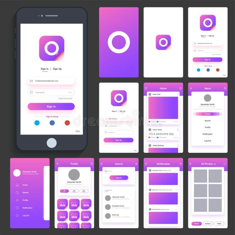 UI, UX i GUI dla Mobilnego Apps, ilustracji