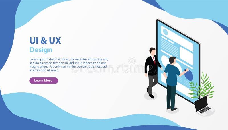 Ui ux interfejs użytkownika i użytkownika doświadczenia sztandaru strony internetowej projekt wzywamy szablonu wektor royalty ilustracja