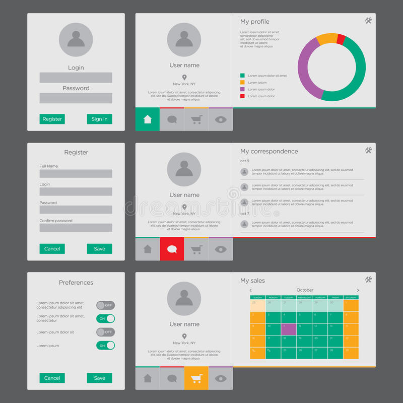 UI and UX kit royalty free illustration
