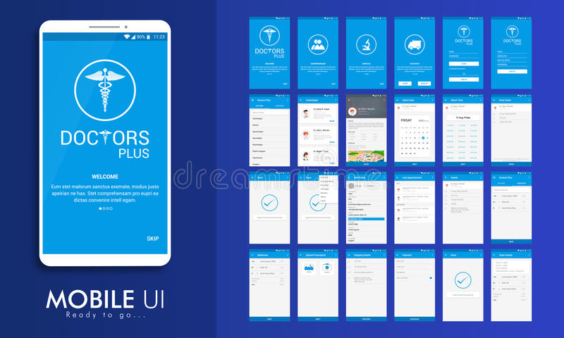 UI, UX och GUI för medicinska mobila Apps stock illustrationer