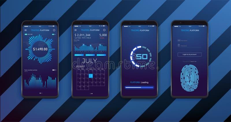 UI-, UX och GUI-mallorientering för mobila Apps Statistikinstrumentbräda Smartphone skärm med aktiemarknaden stock illustrationer