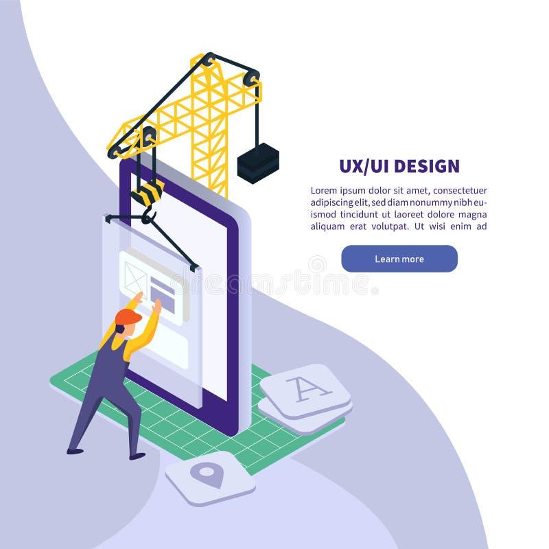 UI UX projekt Mobilna podaniowa technologia Isometric smartphone ilustracja royalty ilustracja