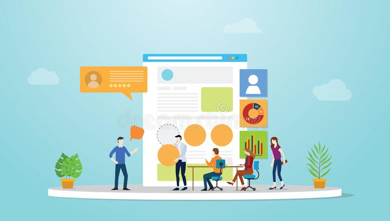 Ui ux user interface and user experience design concept development with team people and browser with modern flat style - vector royalty free illustration