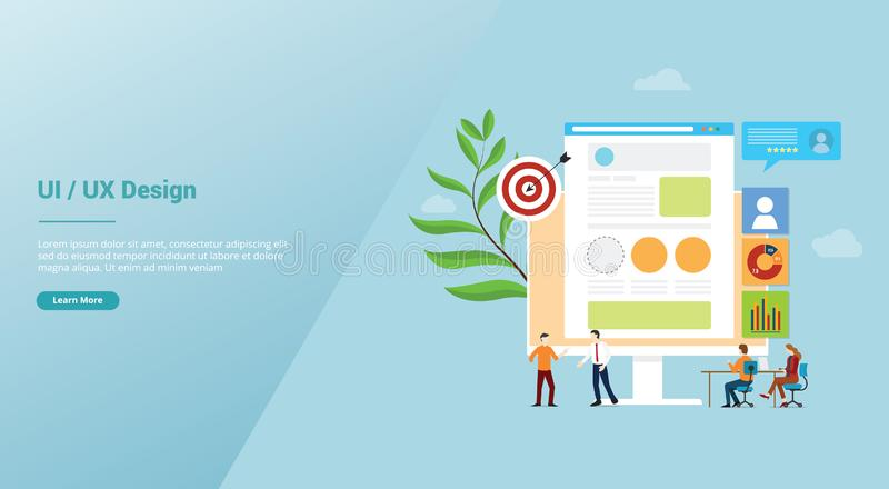 Ui ux user interface and user experience design concept development with team people and browser for website template landing royalty free illustration