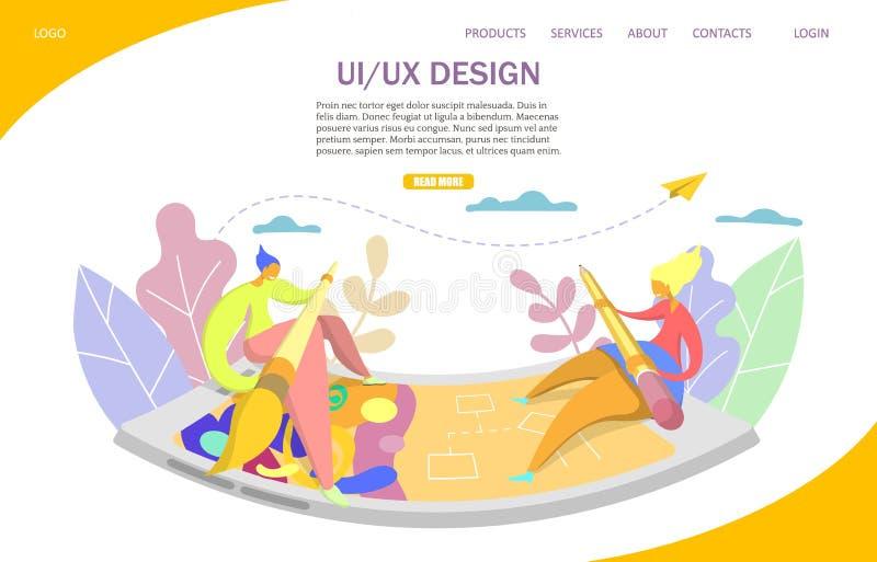 UI and UX vector website landing page design template. UI and UX design vector website template, web page and landing page design for website and mobile site royalty free illustration