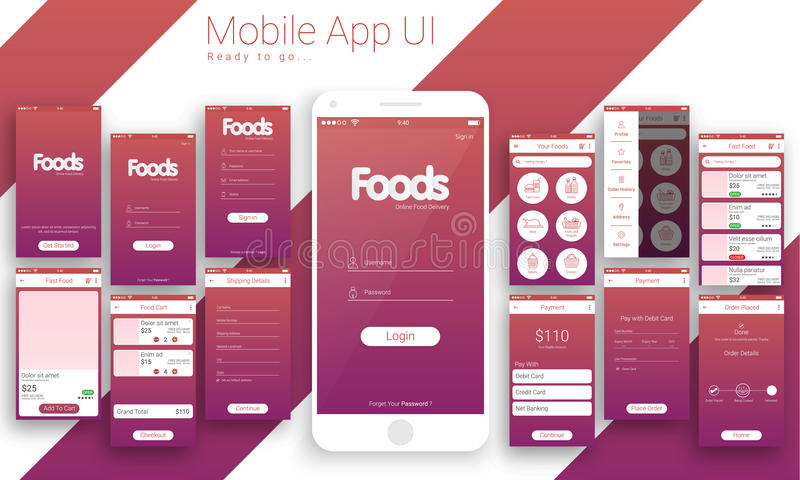 UI, UX y GUI For Online Food Delivery App móvil stock de ilustración