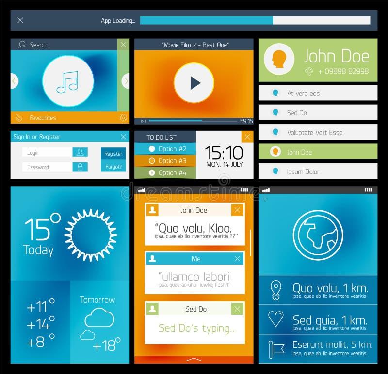 Ui vlak Web en mobiel element stock illustratie