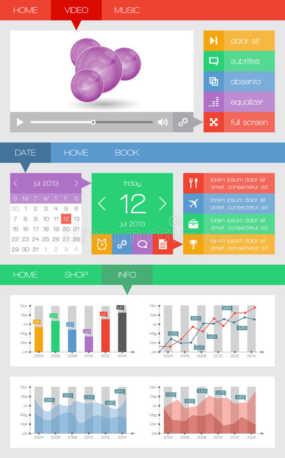 Ui and web elements including flat design