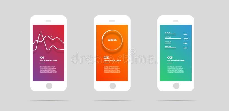 Ui zestaw, pojęcie wisząca ozdoba app, kolorowy Infographic Wektorowa ilustracja, może ilustrować strategię, obieg lub drużynową  ilustracja wektor