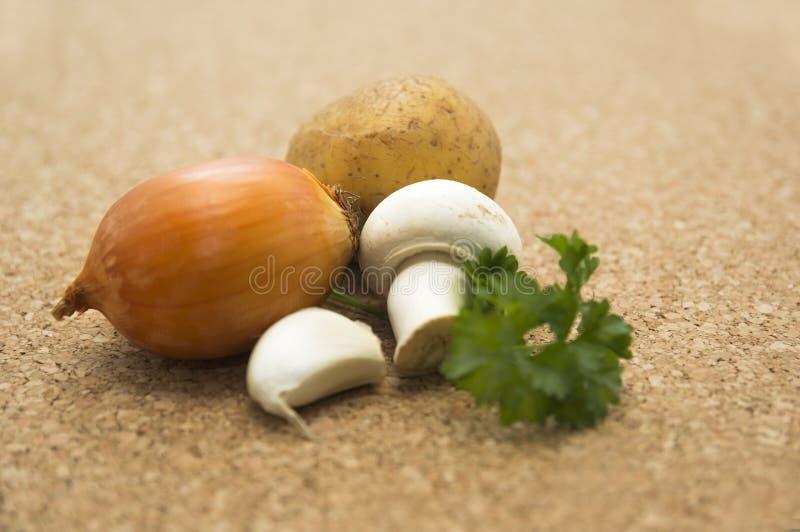 Uien, aardappels, knoflook, peterselie, de champignonsoep van de paddestoeluitrusting stock fotografie
