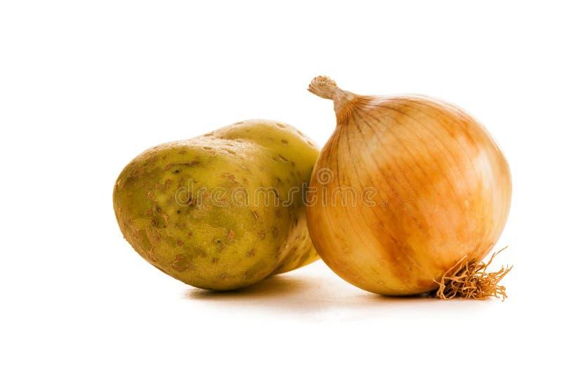 Uien en aardappels royalty-vrije stock fotografie