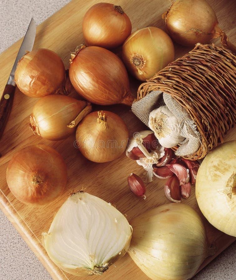 Uien en knoflook stock afbeelding