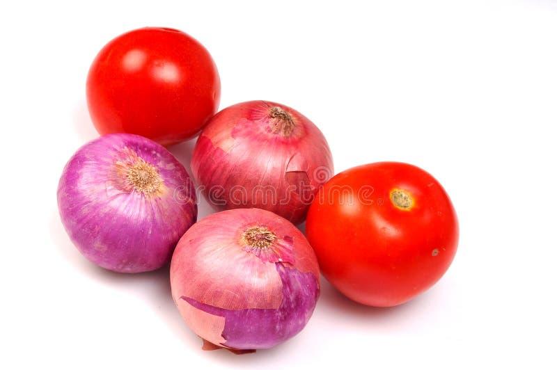 Uien en tomaten royalty-vrije stock foto