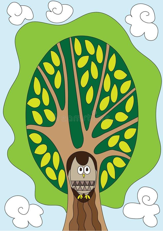 Download Uil in de boom stock illustratie. Illustratie bestaande uit boom - 10780019