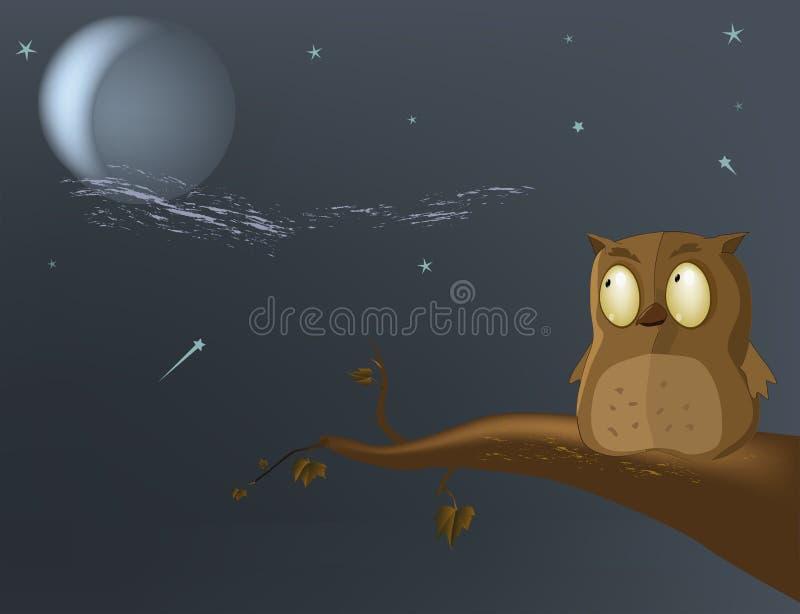 Uil de maan royalty-vrije illustratie
