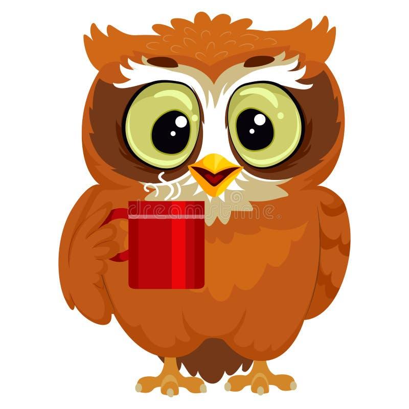 Uil die een kop van koffie drinken stock illustratie