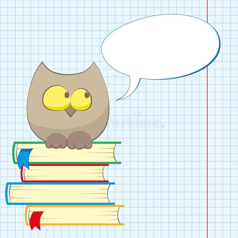 Uil en boeken vector illustratie