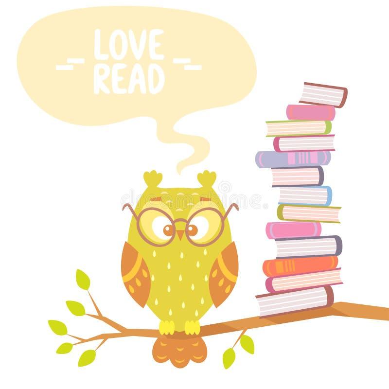 Uil en boeken stock illustratie